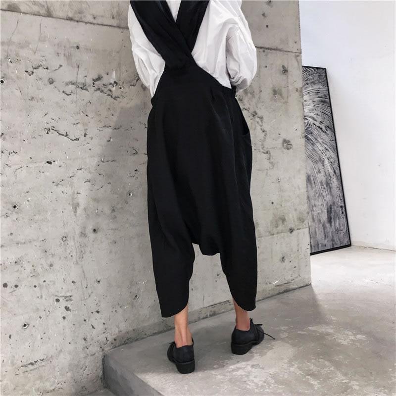 Strap Suelto Mujeres Las Mujer xitao Sólido Color Nuevo Pants Casual Pantalones Lyh3355 Moda Verano Longitud Correa Corea De Black Bolsillo Primavera 2019 De 1n1raxP