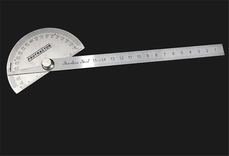 10cm 15cm 20cm Multifunction Stainless Steel Roundhead Angle Ruler Mathematics Measuring Tool Measuring Angle Ruler