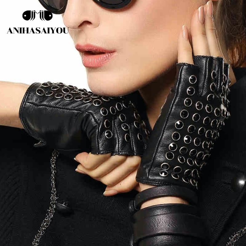Women leather gloves fashion fingerless gloves women studded fingerless gloves punk style performance gloves - L116NN