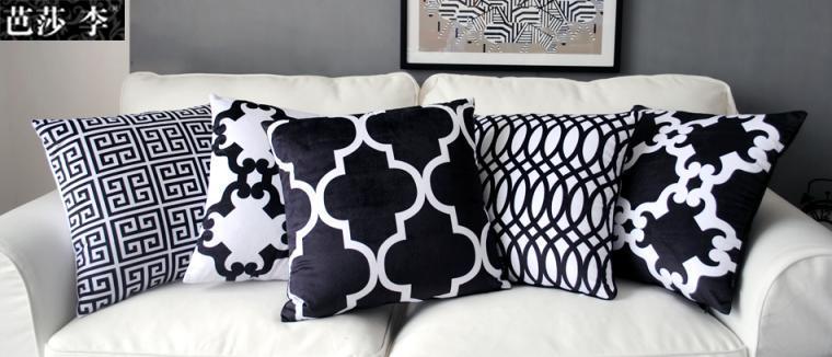 Cushion Cover Pillow Case Black White Geometric Set Classical Print
