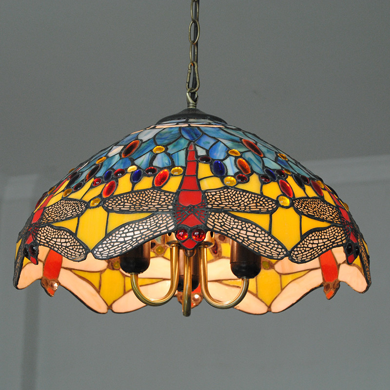 Mediterranean Style Dragonfly Pattern Hanging Light Stained Glass  Decorative Tiffany Pendant Lamp Bedroom Restaurant Fixture 716-in Pendant  Lights from ...