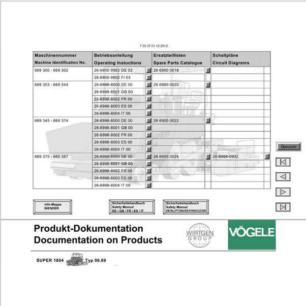 vogele electronic spare parts catalog service manual wiring diagrams and  operation manuals