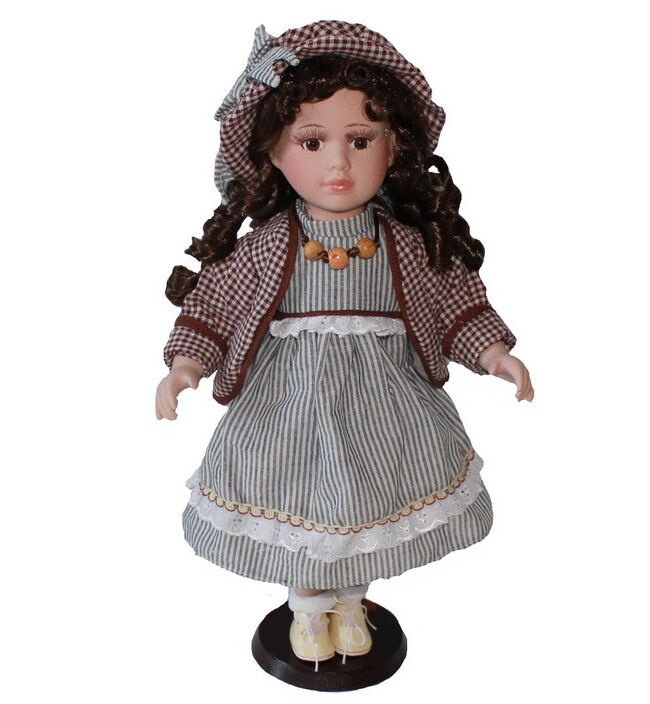 40cm white stripe dress rural Field Village porcelain Leisur girl doll European ceramic doll home decoration Christmas gifts