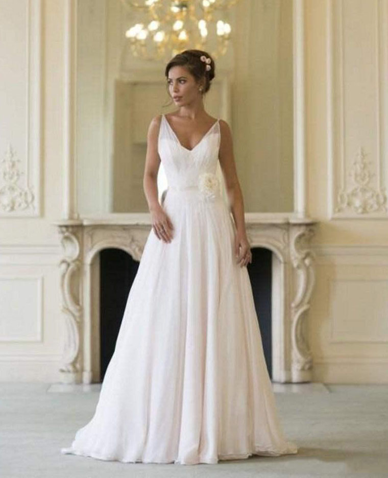 Grecian cheap beach wedding dresses 2016 v neck flowing for Vintage wedding dresses for cheap
