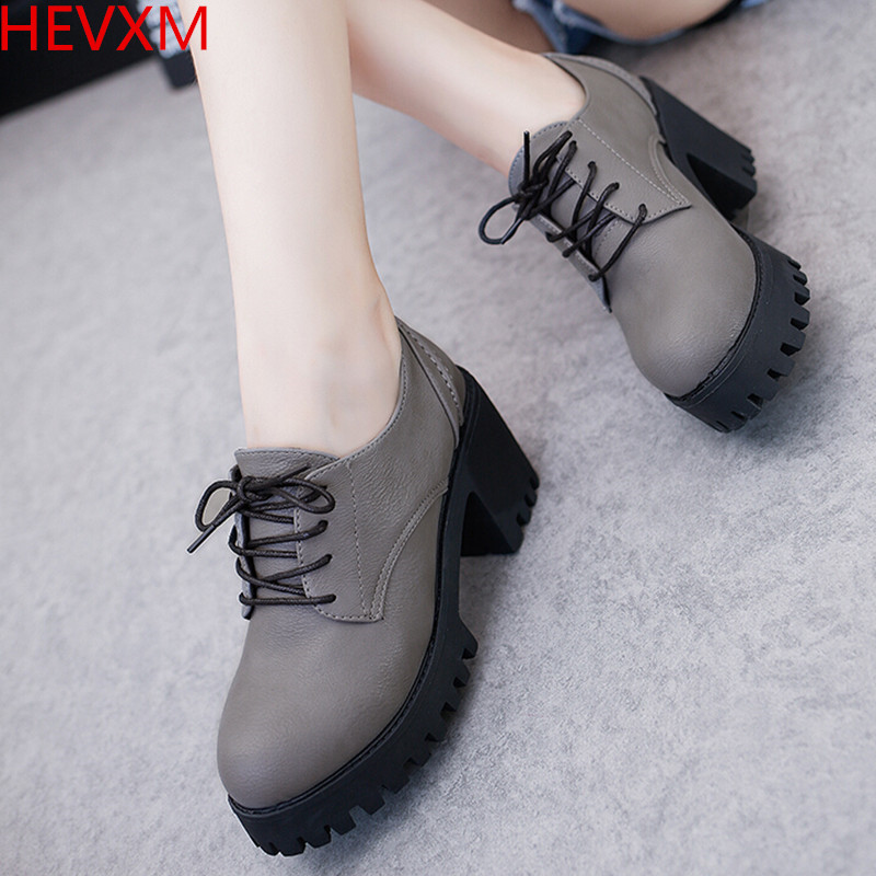 HEVXM 2017 women fashion trend British square root high heels women casual lace Korean version rough with students shoes pumps the teeth with root canal students to practice root canal preparation and filling actually