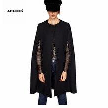 Осень зима черный плащ пальто для женщин шерстяной плащ куртки шаль Верхняя одежда шерстяные пальто