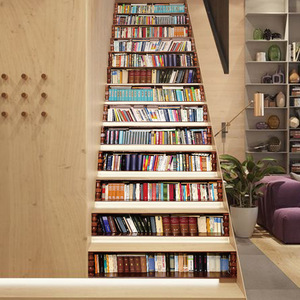 Image 4 - Big Size Wall Stair Sticker Of 13pcs, Fake Books DIY 3D Stairway Stickers Bookshelf Stairs Stickers Floor Wall Decor Decals