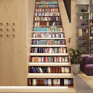 Image 4 - Grande taille mur escalier autocollant de 13 pièces, faux livres bricolage 3D escalier autocollants étagère escaliers autocollants sol mur décor Stickers