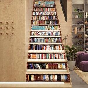 Image 4 - Wielkoformatowa naklejka schodowa z 13 sztuk, fałszywe książki naklejki na schody 3D DIY półka na książki naklejki na schody podłogowe naklejki dekoracyjne