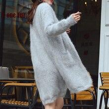 Настоящий норковый кашемировый Повседневный Кардиган женский вязаный открытый стежок кашемировый свитер из меха норки фабрика OEM мех KFP996