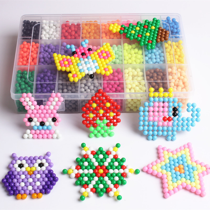 24 Colors Aqua beads Solid Bead Refill Pack Water Sticky Beads Pegboard Set Jigsaw Water beadbond Bond PuzzleToy For Children