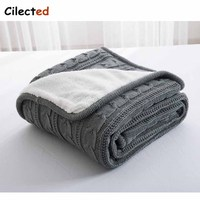 Cilected High Quality Cotton Grey Knitting Blanket For Bed Sofa Winter Double Layer Coral Fleece Sleeping