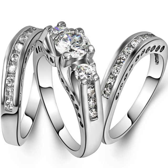 Size 4 12 White Gold Rhodium Plated Engagement Wedding Three In One Ring