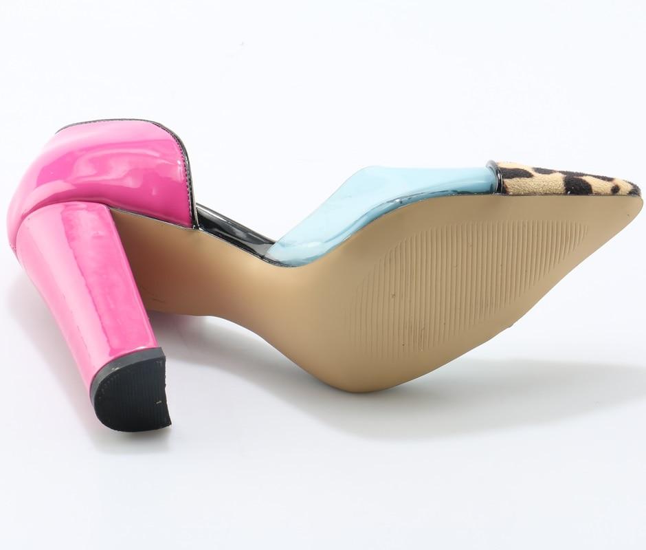 Escarpin fiesta novia boda zapatos slip on clear PVC transparente leopardo bombas Rosa grueso tacones Sandalias Mujer - 4