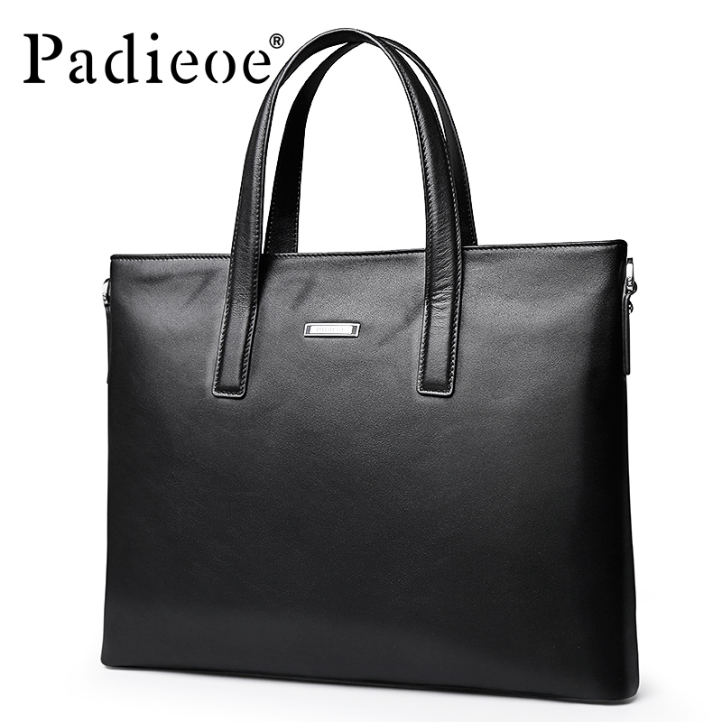 Padieoe mallette d'affaires hommes véritable porte-documents en cuir homme ordinateur portable de haute qualité sac à bandoulière hommes cuir portefeuille sacs noir
