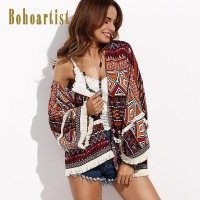 Bohoartist 2017 Sunscreen Clothing Summer Swimsuit Cover Up Large Size Ladies Blouse Shirt Top Boho Fringe