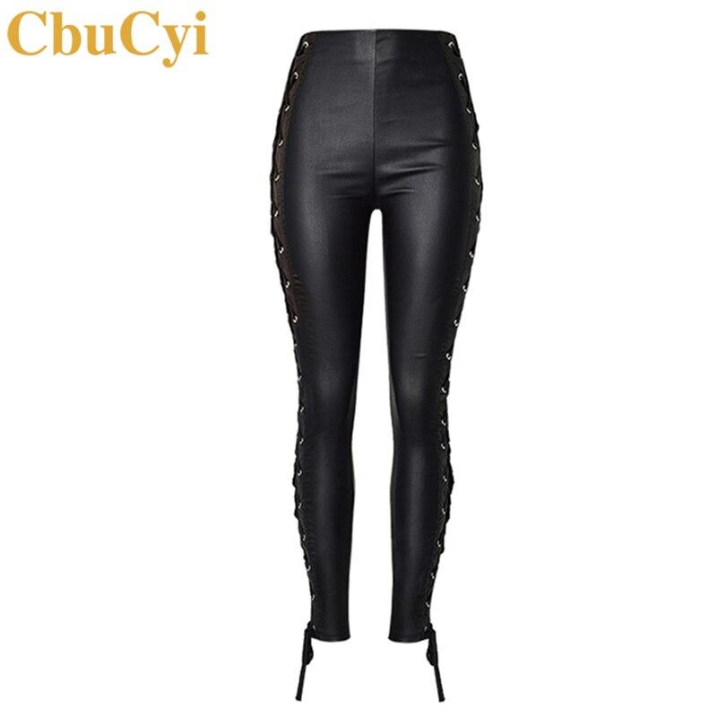 CbuCyi Fashion   Jeans   Women's High Waist Elastic Denim Pants Bilateral Straps Faux PU Leather Pants Sexy Coated Denim Trousers