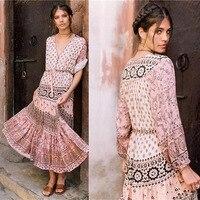 Vintage Boho Floral Print Beach Long Dress 2018 Summer Long Sleeve Bohemian Maxi Dress Tie V Neck Gypsy Dress Boho Jurk Lang