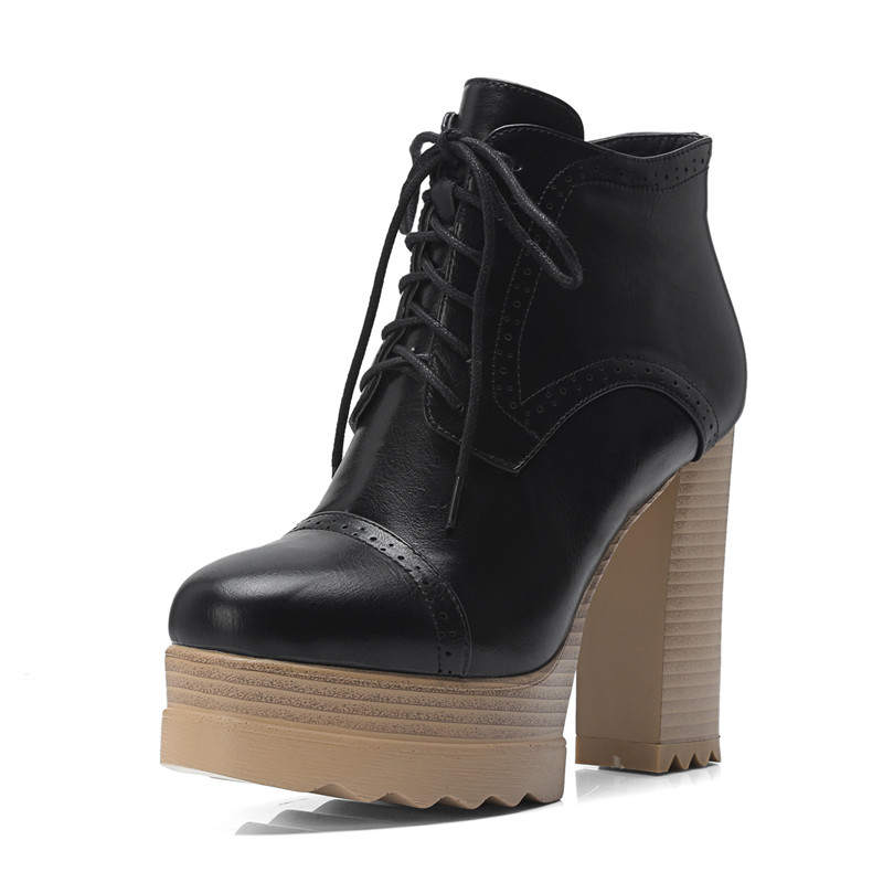 Plate Hiver Femme Noir Talons Nouveau Automne Noir Chaussures Haute 2018 Bottes brown Dentelle Mode forme Rond Up Cheville Zip Memunia Bout Femmes apricot UazHFxnw