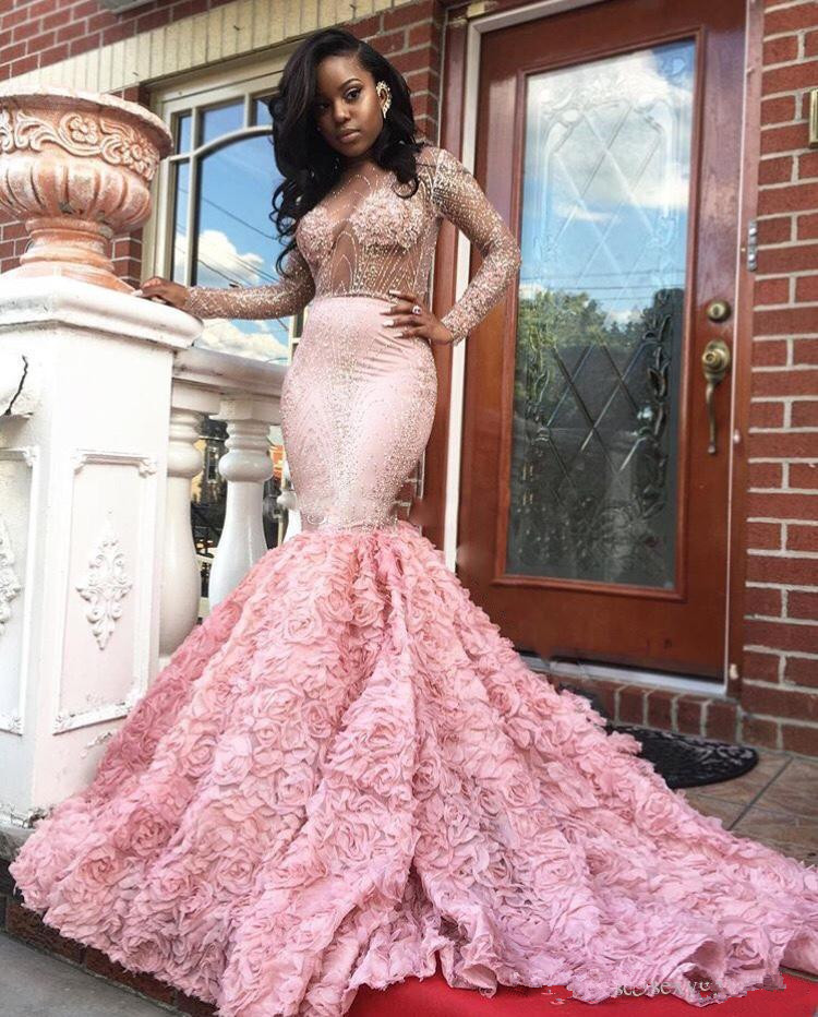 Pink Robe De Soiree 2019 Mermaid Long Sleeves See Through Beaded Backless Sexy Long   Prom     Dresses     Prom   Gown Evening   Dresses