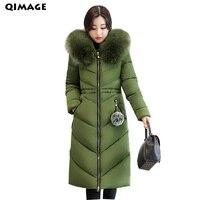 QIMAGE Solid Color Winter Coat 2017 Women X Long Parkas Big Fur Collar Warm Long Cotton