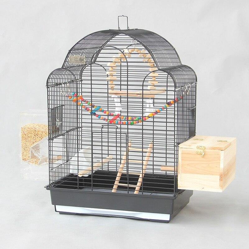 Noir de luxe grand oiseau cage Xuanfeng tigre perroquet cage étourneau cage grand métal pivoine cage d'élevage ZP12291855