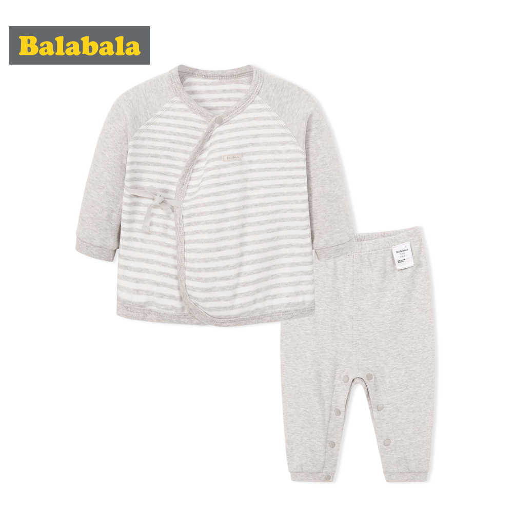 Balabala สไตล์ใหม่เสื้อผ้าเด็กทารกนุ่มสบาย Basic สไตล์เสื้อผ้าเด็กทารกแรกเกิดเด็กทารกน่ารักโลโก้ทอ CLOT