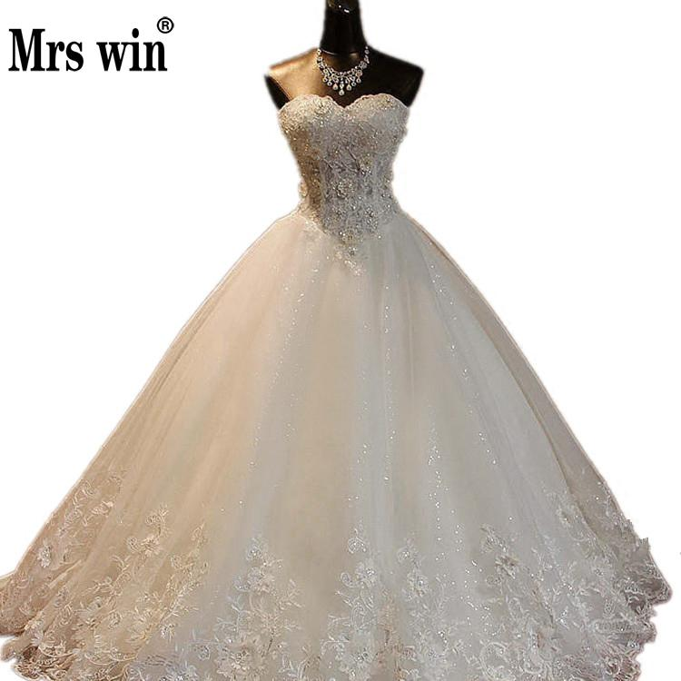 Mrs Win 2018 High Quality See Through Wedding Dresses Ball Gowns Lace Up Bride Dres Vestidos De Novia Plus Size Customized Dress