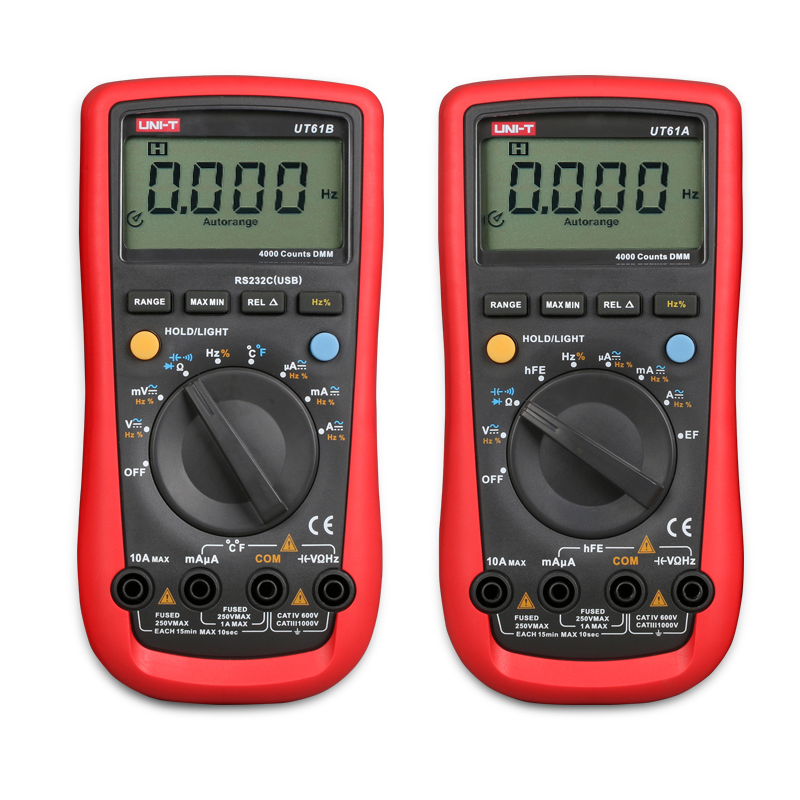 UNI-T UT61A UT61B Digital Multimeter AC/DC Voltage Current Meter Tester with Test Lead Electrical Handheld Multimeter uni t multimeter ut105 automotive multimeter ac dc voltage current resistance test meter handheld multimeter digital multimeter