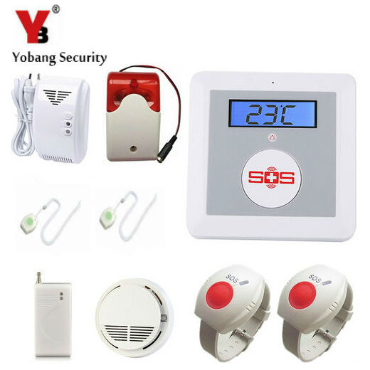 YobangSecurity GSM Senior Telecare Wireless GSM SMS Home Security Alarm System with SOS Call for Elderly Care APP Control 16 ports 3g sms modem bulk sms sending 3g modem pool sim5360 new module bulk sms sending device