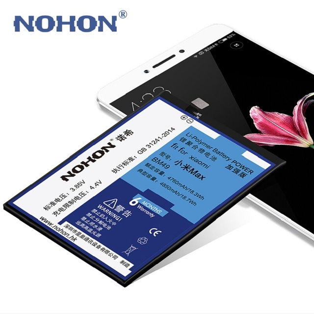 New NOHON Phone Battery For XiaoMi Max BM49 XiaoMiMax 4760mAh-4850mAh High Capacity Built-in Package+ Tools For Mi Max Batteries