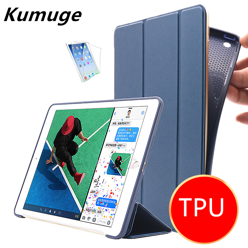 For New iPad 2017 9.7 Tablet Front PU Leather Cover Case +TPU Silicone Back Case for iPad 2017 Model A1822 A1823 Coque+Film +Pen