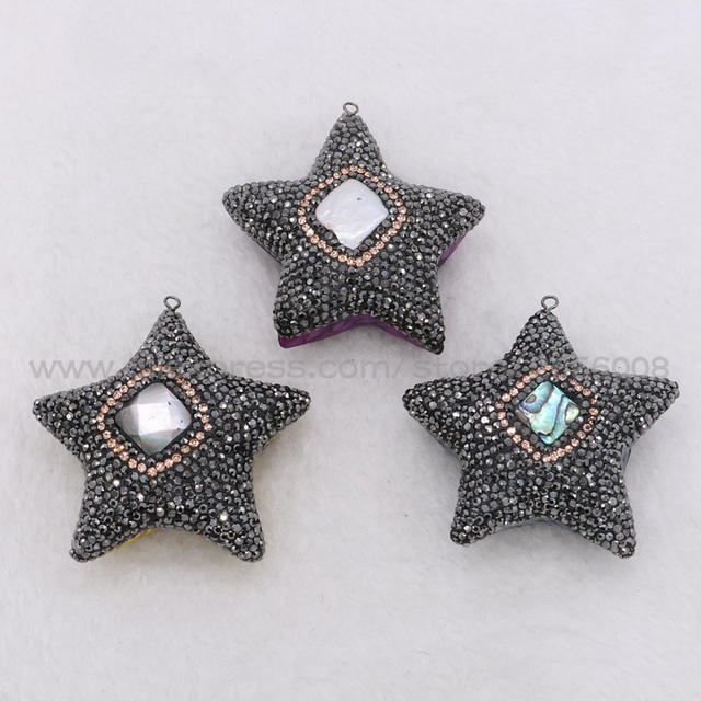 Handcrafted star pendants pave black cz pendant with shell handcrafted star pendants pave black cz pendant with shell stonesnake skin retro druzy necklace pendants jewelry aloadofball Image collections