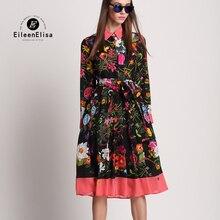 2018 ロングドレス夏 女性のドレス長袖フローラルドレスの女性のドレスエレガントな女性 Vestidos