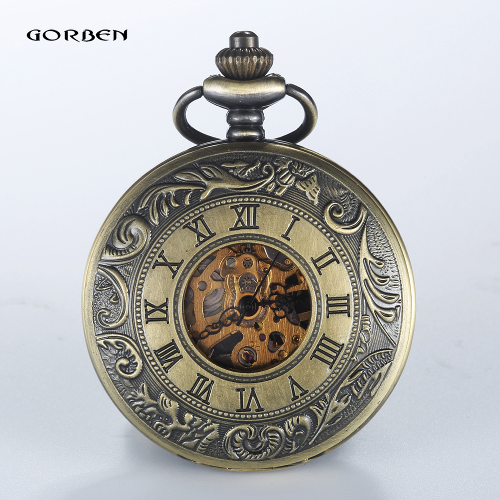 2016 Retro Roman Scale Case Steampunk Carving Bronze Mechanical Pocket Watches Men Luxury FOB Chain  2 Sides Open Women Watches
