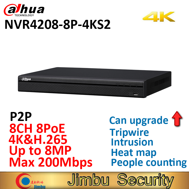 Dahua H 265 4K NVR NVR4208 8P 4KS2 8ch 8 Poe port video recorder Up to