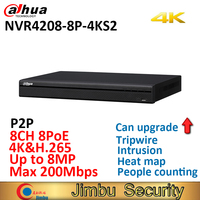 Dahua H.265 4K NVR NVR4208 8P 4KS2 8ch 8 Poe port video recorder Up to 8MP Resolution people counting tripwire heat map recorder