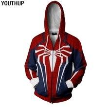 YOUTHUP 3D Hoodies Men Printed Spiderman Zipper Long Sleeve Hooded Sweatshirts Coat Cosplay Hoody Cool Tops Plus Size