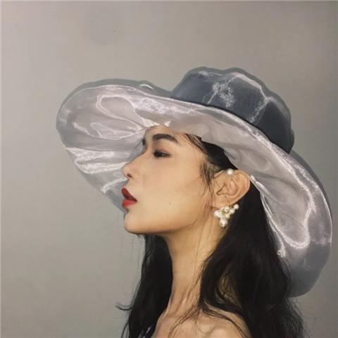 Free ship black/white veil hat medieval hair decoration organza transparent hat stage costume accessory