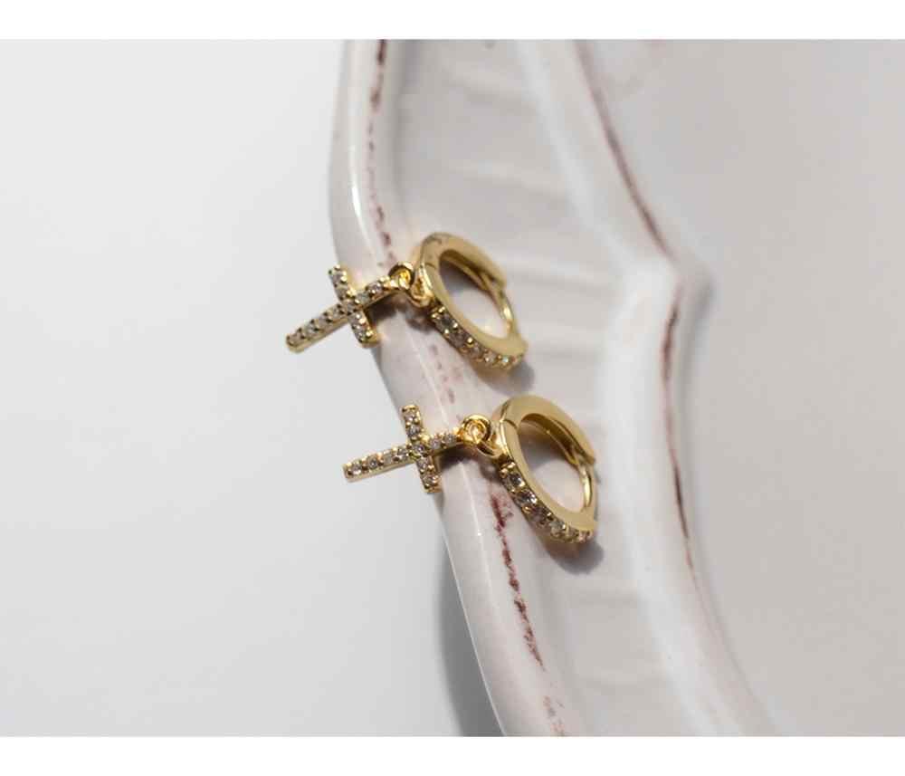 Серьги из стерлингового серебра 925 пробы, модные циркониевые кресты, Короткая подвеска, кольцо для ушей, милые дикие простые трендовые ювелирные изделия для девушек