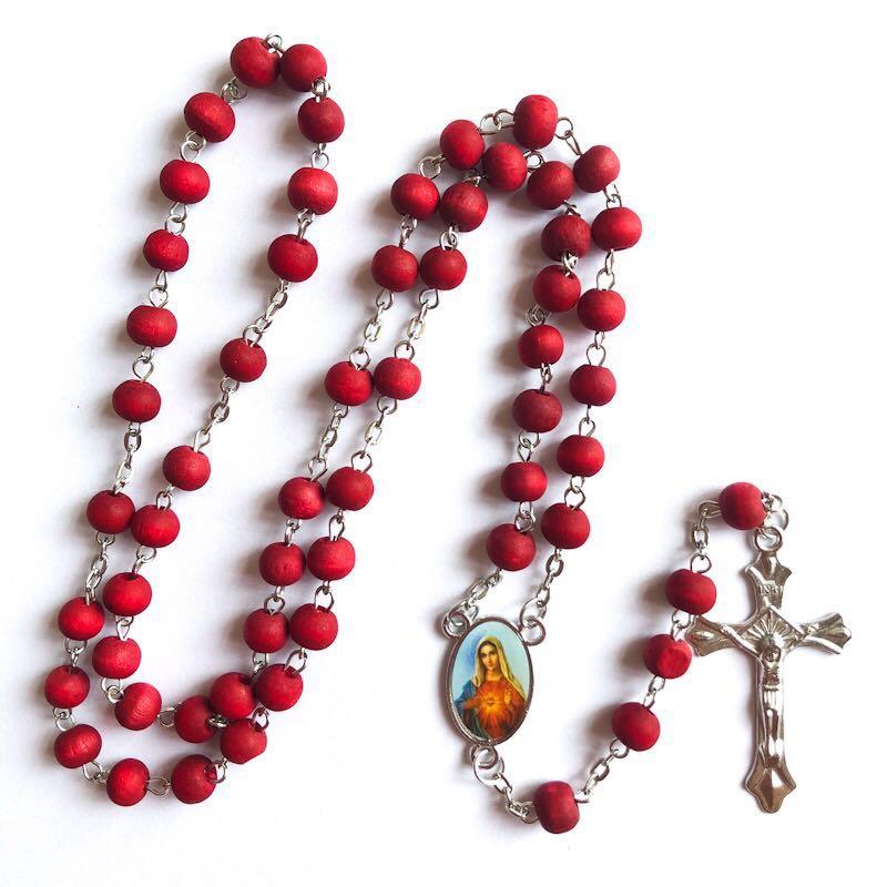 6*7mm rode houten kraal rozenkrans/religieuze parfum rozenkrans ketting virgin mary middelpunt met rose scent (100 stks/pak)-in Schakel ketting van Sieraden & accessoires op  Groep 2