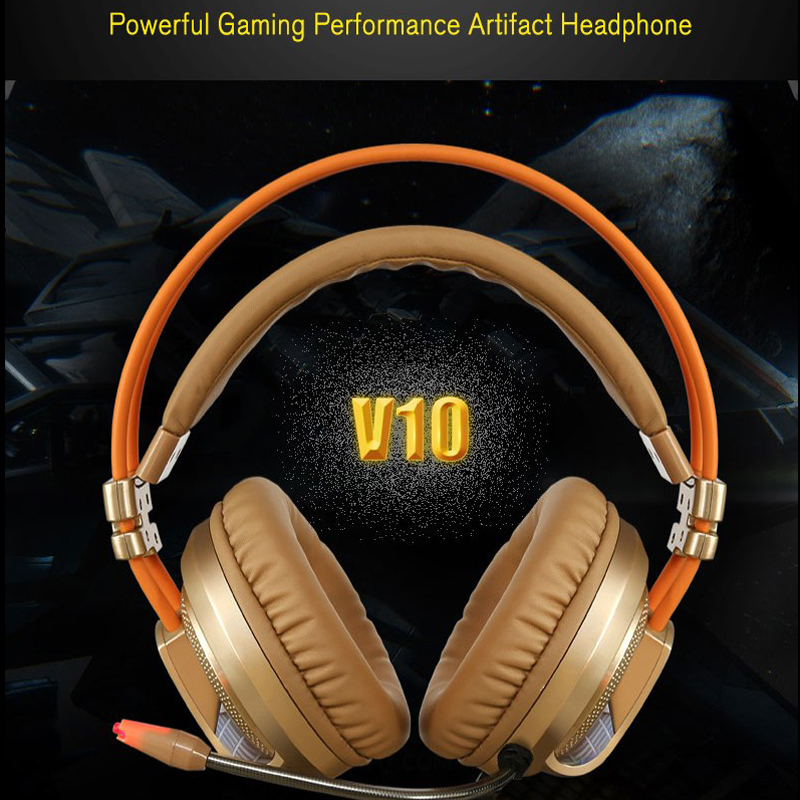 ФОТО Computer Gaming Headphones Headband with Microphone Mic V10 Heavy Bass Stereo Game headset with Light for PC Gamer