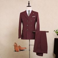 Последние конструкции пальто брюки коричневый вертикальная полоса твидовый костюм формальные Slim Fit костюм платье Для мужчин классические