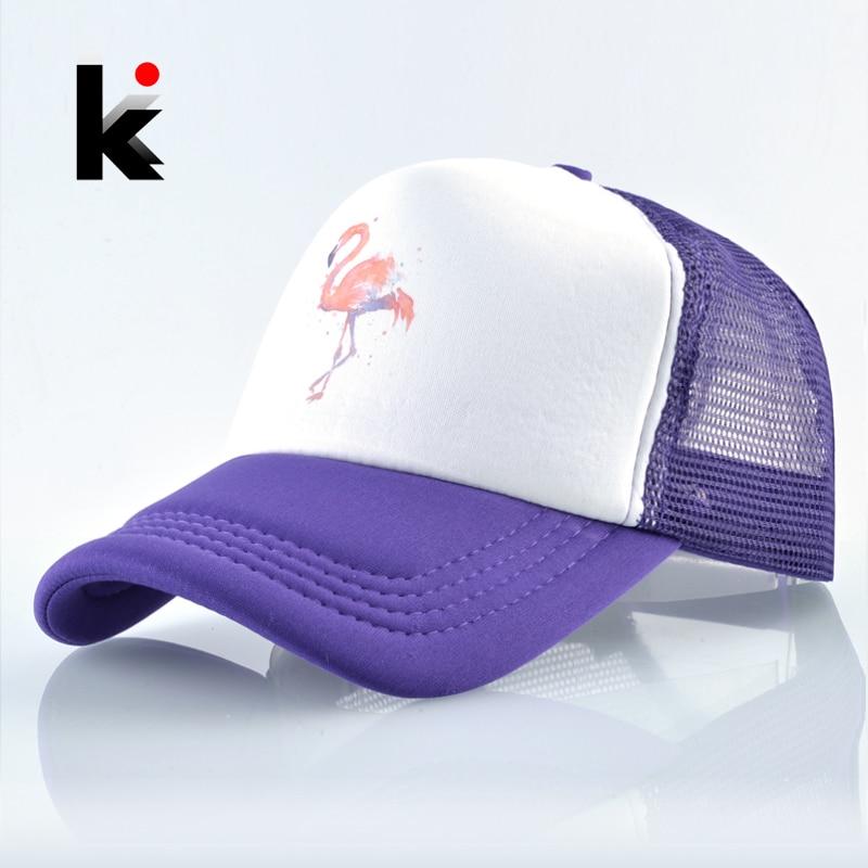 Couple Caps Baseball-Cap Mesh Snapback Print Flamingo Trucker-Bone Casual Women Hat Breathable