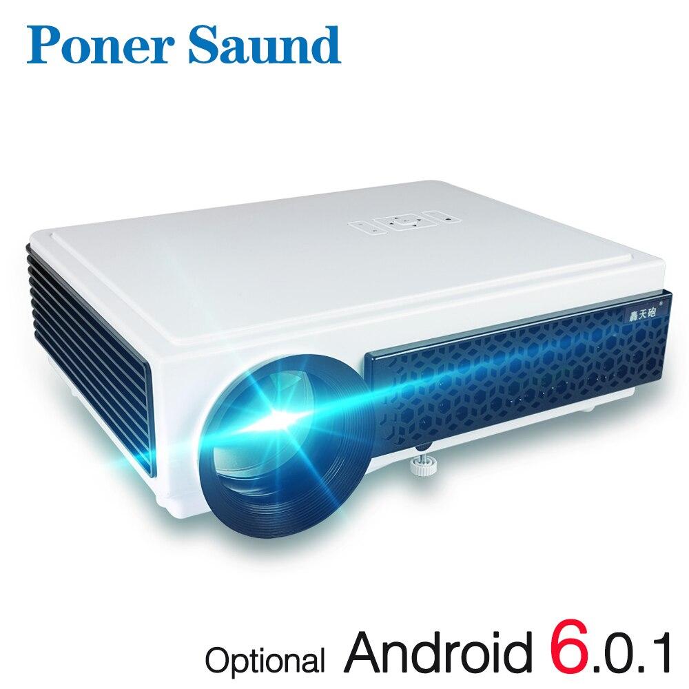 Poner Saund LED 96 + Proiettore 3D Home Theater Opzionale Android 6.0 WIFI 100 pollici di schermo REGALO Full HD 1080 p HDMI Video di Proyector