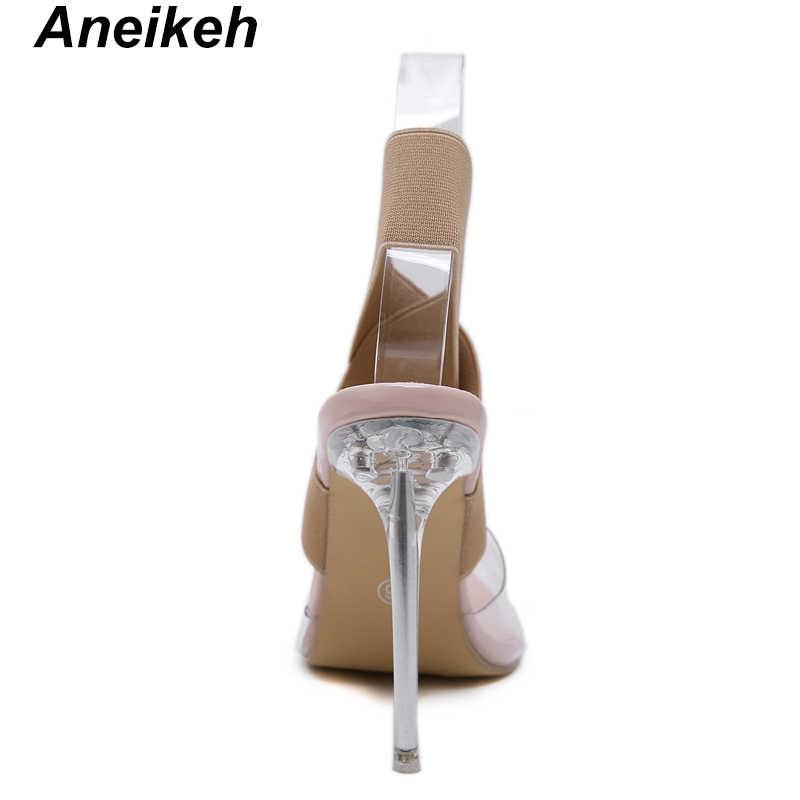 Aneikeh セクシーなポインテッドトゥ透明女性のサンダル弾性バンド足首ストラップスリップクリアのパーティーパンプスサイズ 41 42