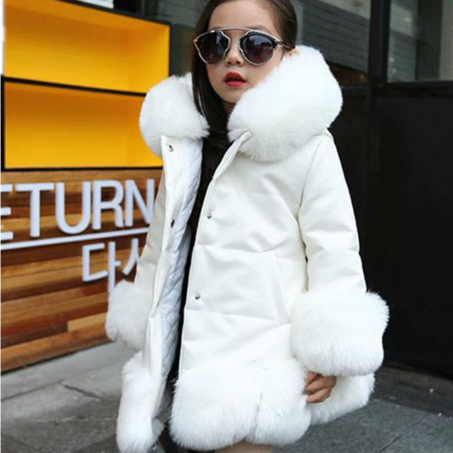 1d06c500992 Furry Winter Girls Faux Fur Fleece Coat Warm Jacket Xmas Snowsuit Outerwear Children  Kid Clothes Hooded Fake Fur Overcoats F167