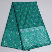 2017 Latest Teal African French Lace Fabric High Quality African Tulle Lace Fabric For Nigerian Wedding