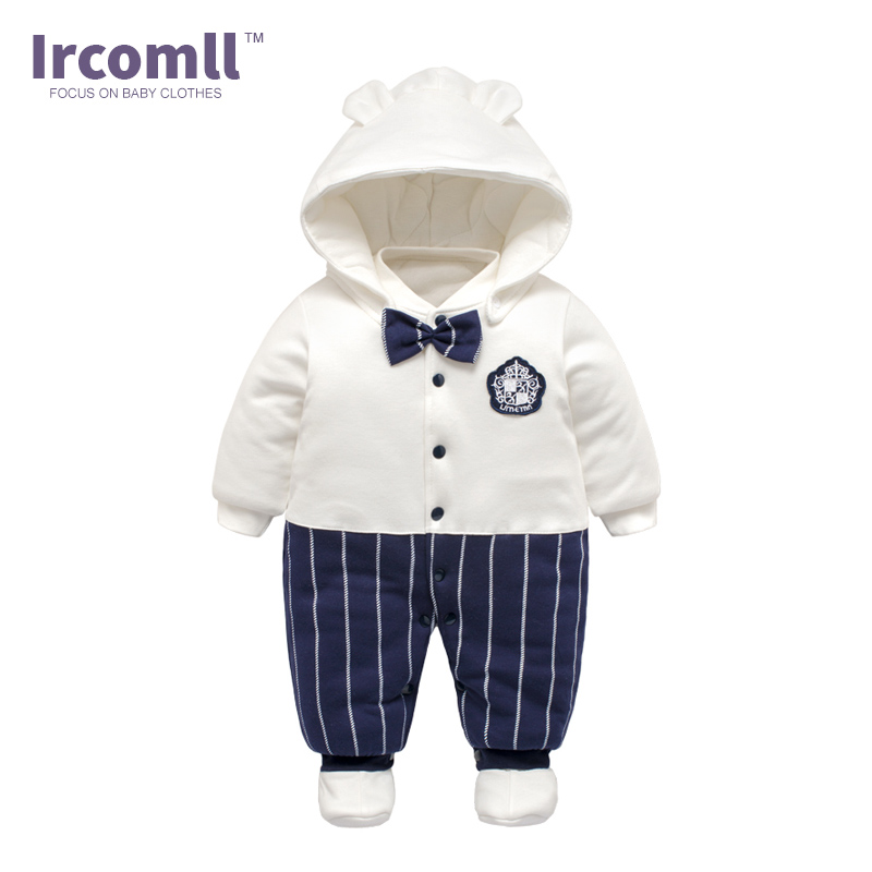 Ircomll 2017 High Quality Cotton Newborn Baby Rompers Thick Warm Boys Clothing Gentleman Infant Snowsuit Kid Jumpsuit Outwear newborn baby rompers baby clothing 100% cotton infant jumpsuit ropa bebe long sleeve girl boys rompers costumes baby romper