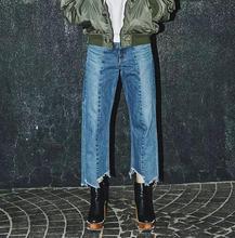 Европейский стиль 2017 новая мода два-цвет мыть асимметричные брюки заусенцев джинсы женские джинсовые брюки S278
